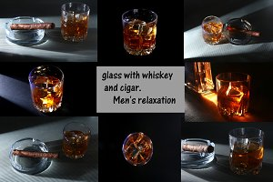 Glass of whiskey or bourbon with ice