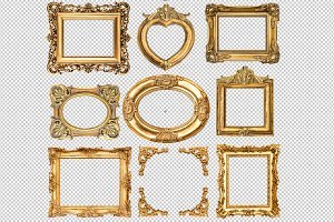 9 Golden frames transparent PNG