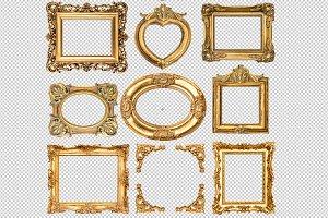9 Golden frames transparent 1 PNG
