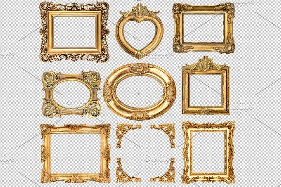9 Golden frames transparent PNG ~ Objects ~ Creative Market