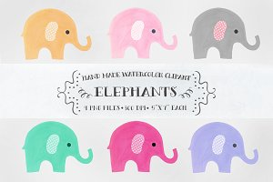 Elephants - watercolor clipart