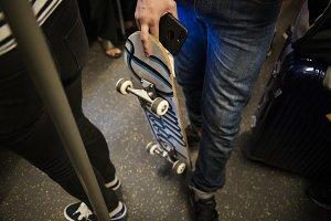 Skater boy on a subway