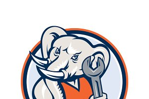 Elephant Mechanic Spanner Mascot Cir