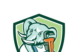 Elephant Plumber Mascot Monkey Wrenc