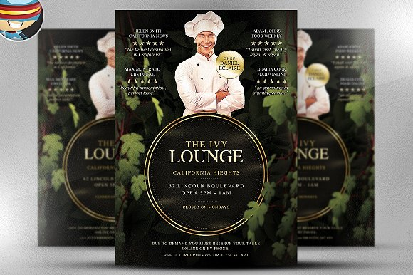 The Ivy Lounge Restaurant PSD Flyer