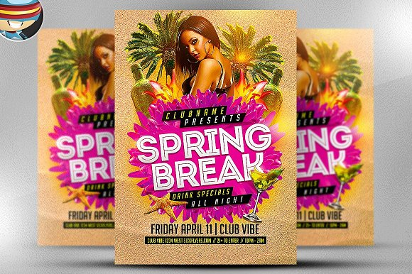 Spring Break Party Flyer Template 2