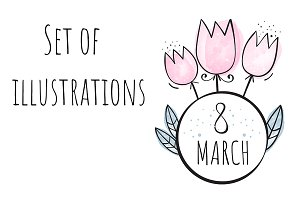 """A set of illustrations """"on March 8"""""""