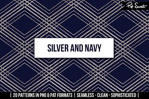 Seamless Silver and Navy 20 Set