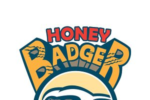 Honey Badger Mascot Claw Circle Retr