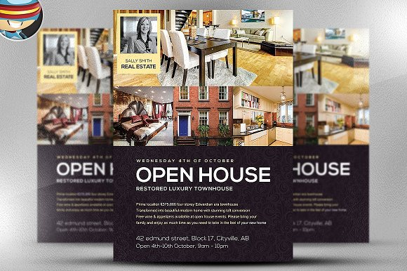 Open house flyer template flyer templates creative market open house flyer template flyers maxwellsz