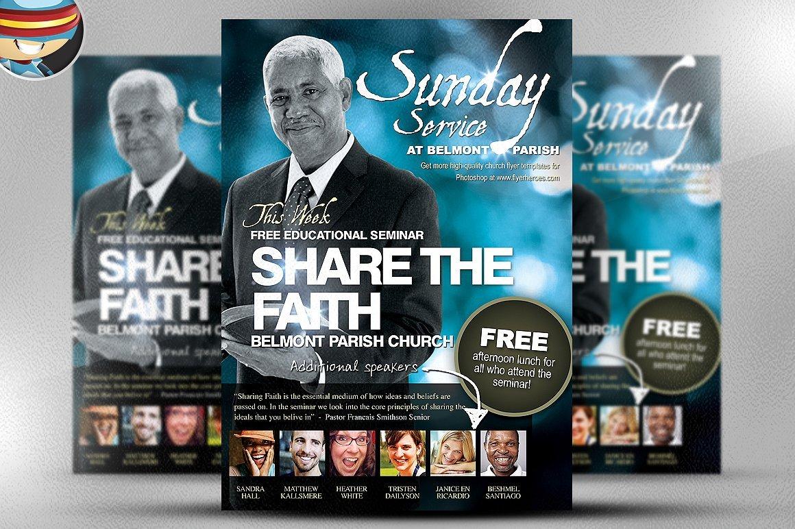 share the faith church psd flyer flyer templates creative market