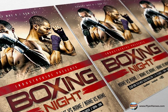 Boxing Night Flyer Template Flyer Templates Creative Market