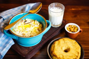 Breakfast set with corn porridge