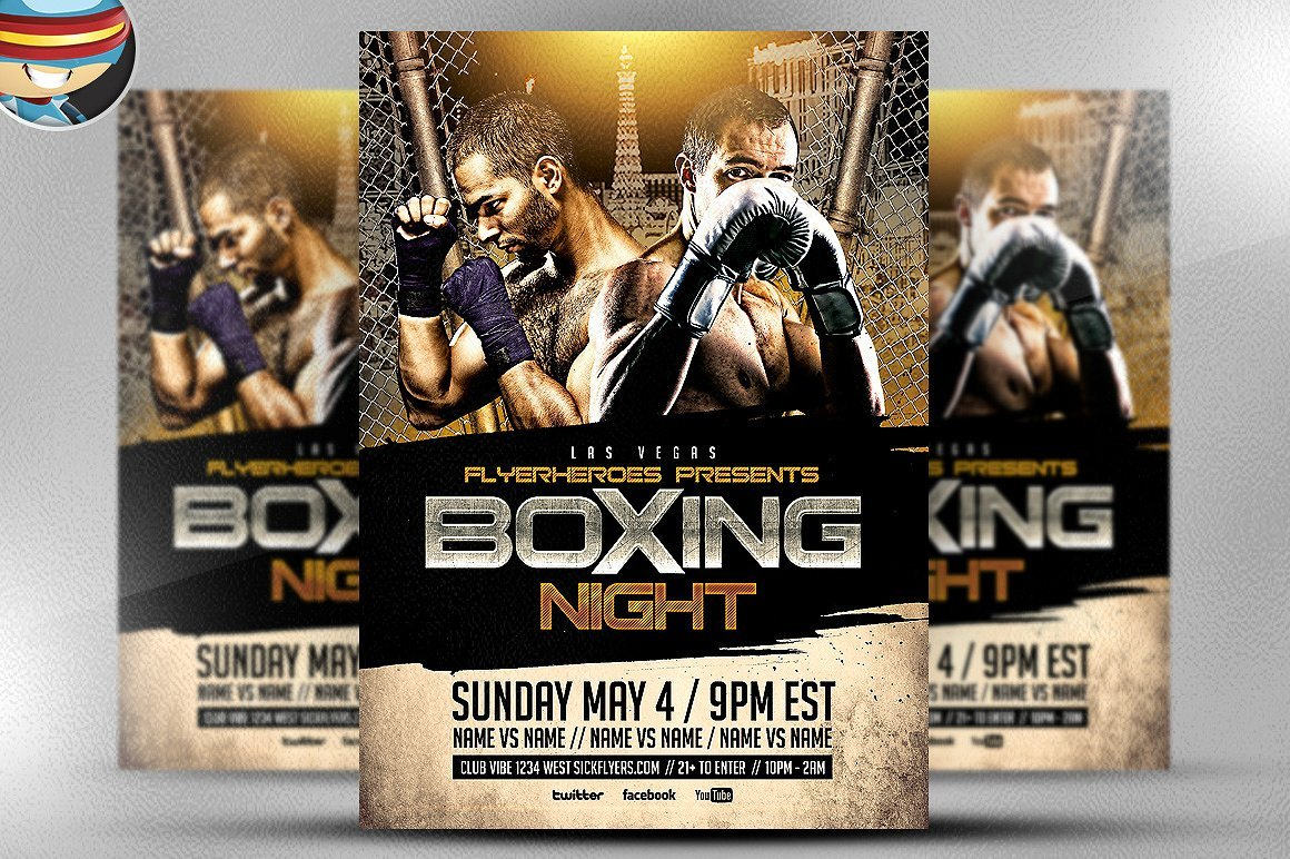 Boxing Night Flyer Template 2 ~ Flyer Templates ~ Creative Market