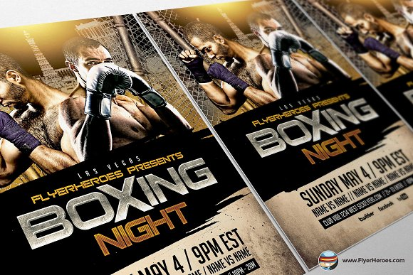 Boxing Night Flyer Template 2 Flyer Templates Creative Market