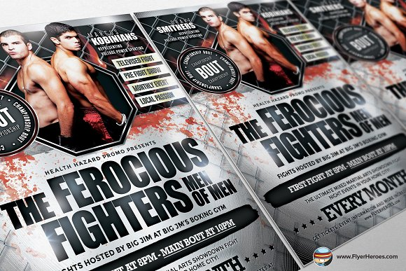 Ferocious Fighters Flyer Template ~ Flyer Templates ~ Creative Market