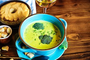 Dinner set with broccoli soup