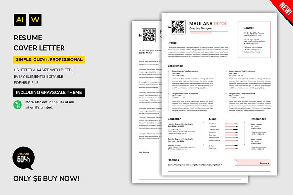 Resume Cover Letter Templates Creative Market