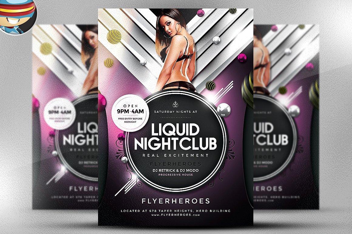 Liquid Nightclub Flyer Template Flyer Templates Creative Market