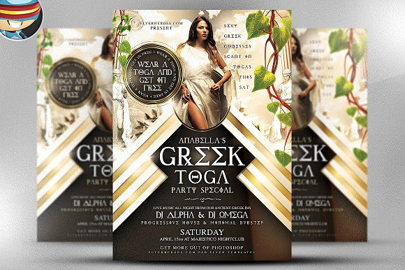 greek toga flyer template flyer templates creative market