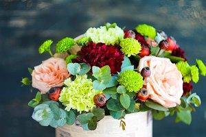 Flowers in creative summer bouquet