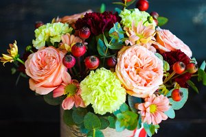 Flowers in creative summer bouquet
