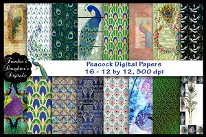 Peacock Digital Papers