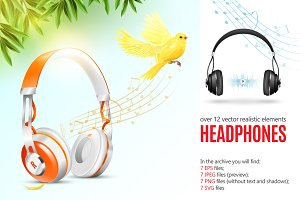 Realistic Headphones Set