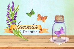 Lavender dreams. Watercolor set