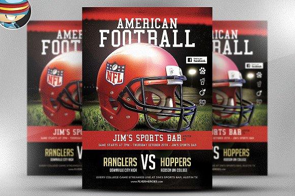 American Football Flyer Template 1 Flyer Templates Creative Market