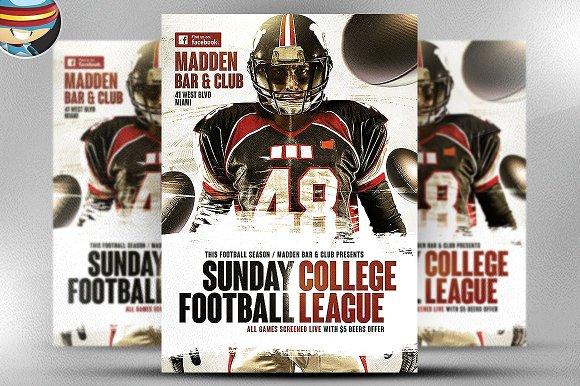 American Football Flyer Template 3 Flyer Templates Creative Market