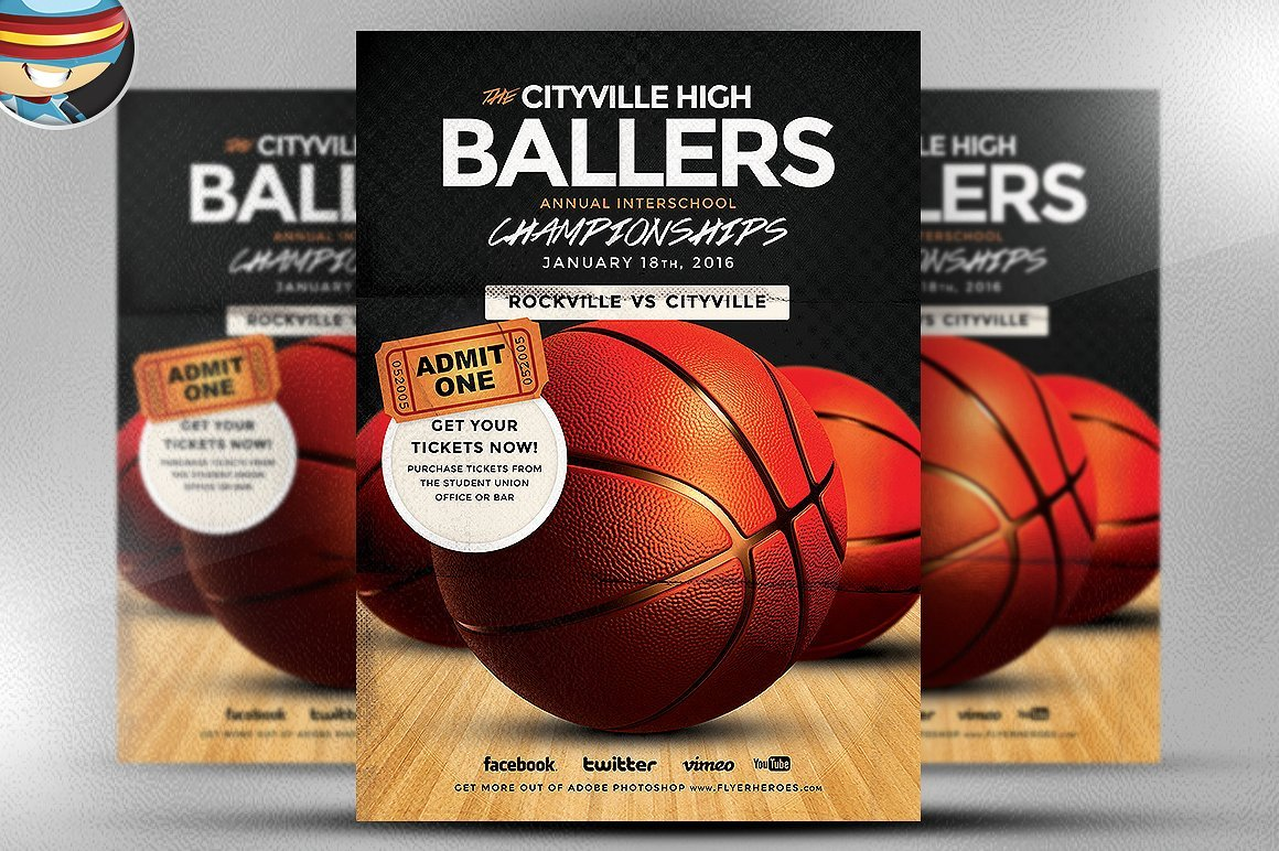 Basketball Flyer Template ~ Flyer Templates ~ Creative Market