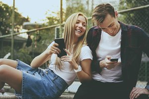 Young couple using a smartphone