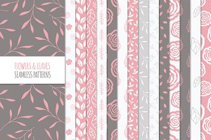 Floral Seamless Patterns - Coral Red