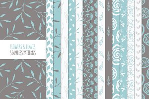 Floral Seamless Patterns - Blue