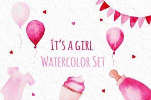 It's a Girl Watercolor Set