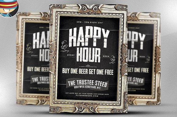 Framed Happy Hour PSD Flyer Template