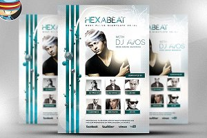 Hexabeat PSD Flyer Template