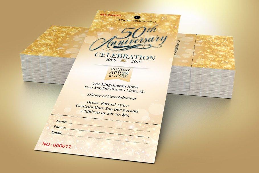 Church Golden Anniversary Ticket Card Templates Creative