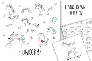 Hand drawn Magic Unicorns collection