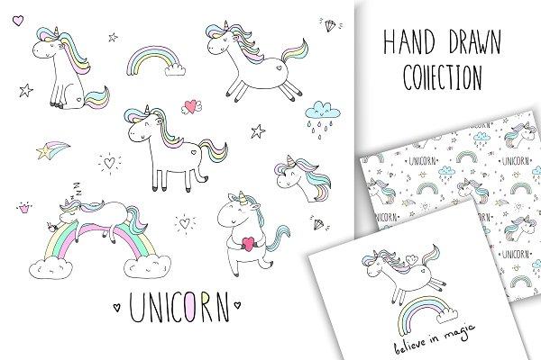 Hand drawn Magic Unicorns collectio…