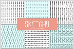 6 SKETCHY seamless patterns