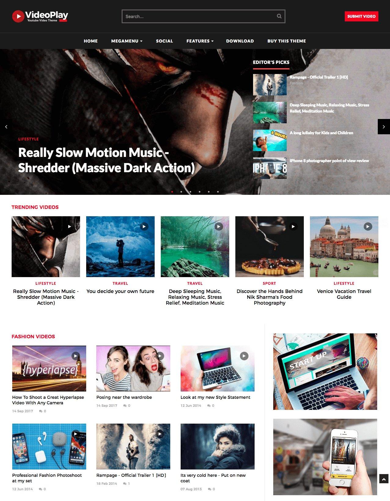 Videoplay Video Blogger Template Website Templates Creative Market