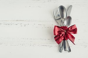 Valentine's Day tabble setting with cutlery