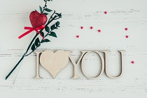 I Love You - wooden phrase on white background