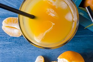 cocktail with tangerines, juice