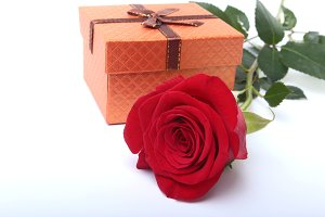 Gift boxes with bow and rose.