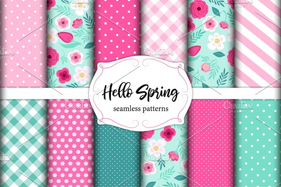 Set Of Cute Seamless Hello Spring Patterns With Primitive Flowers Polka Dots Stripes And Plaid
