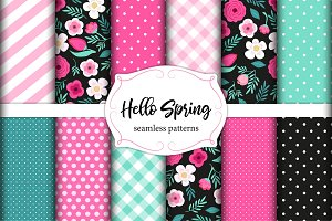 Set of cute seamless Hello Spring patterns with primitive flowers, polka dots, stripes and plaid