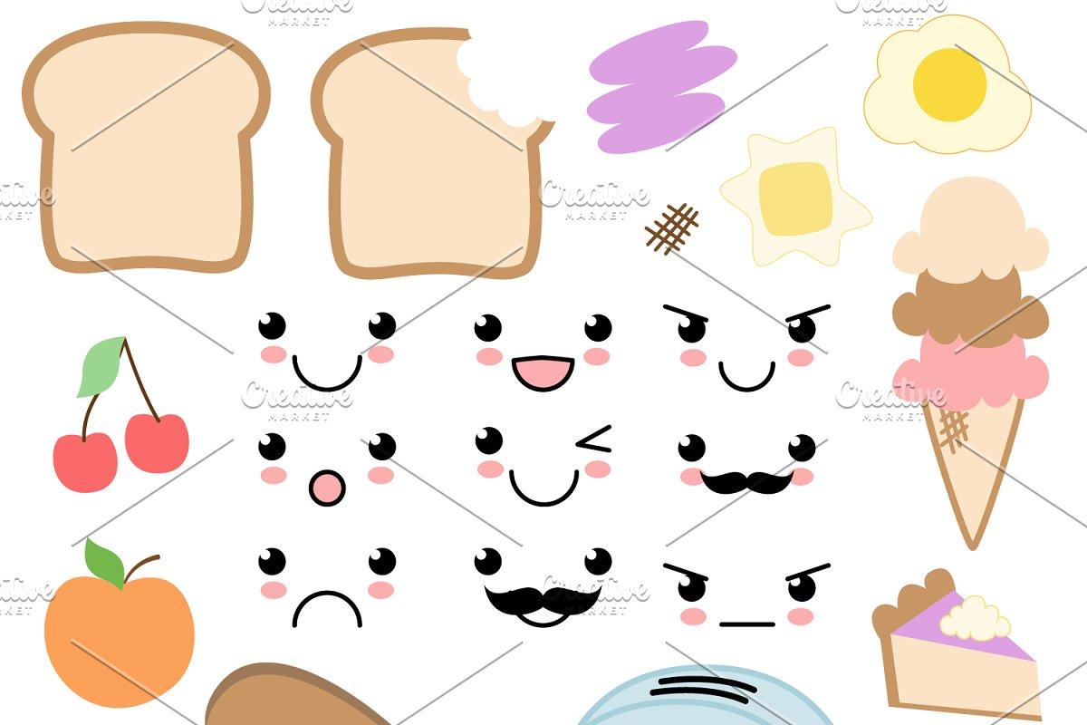 Food vector. Kawaii vectors and clipart